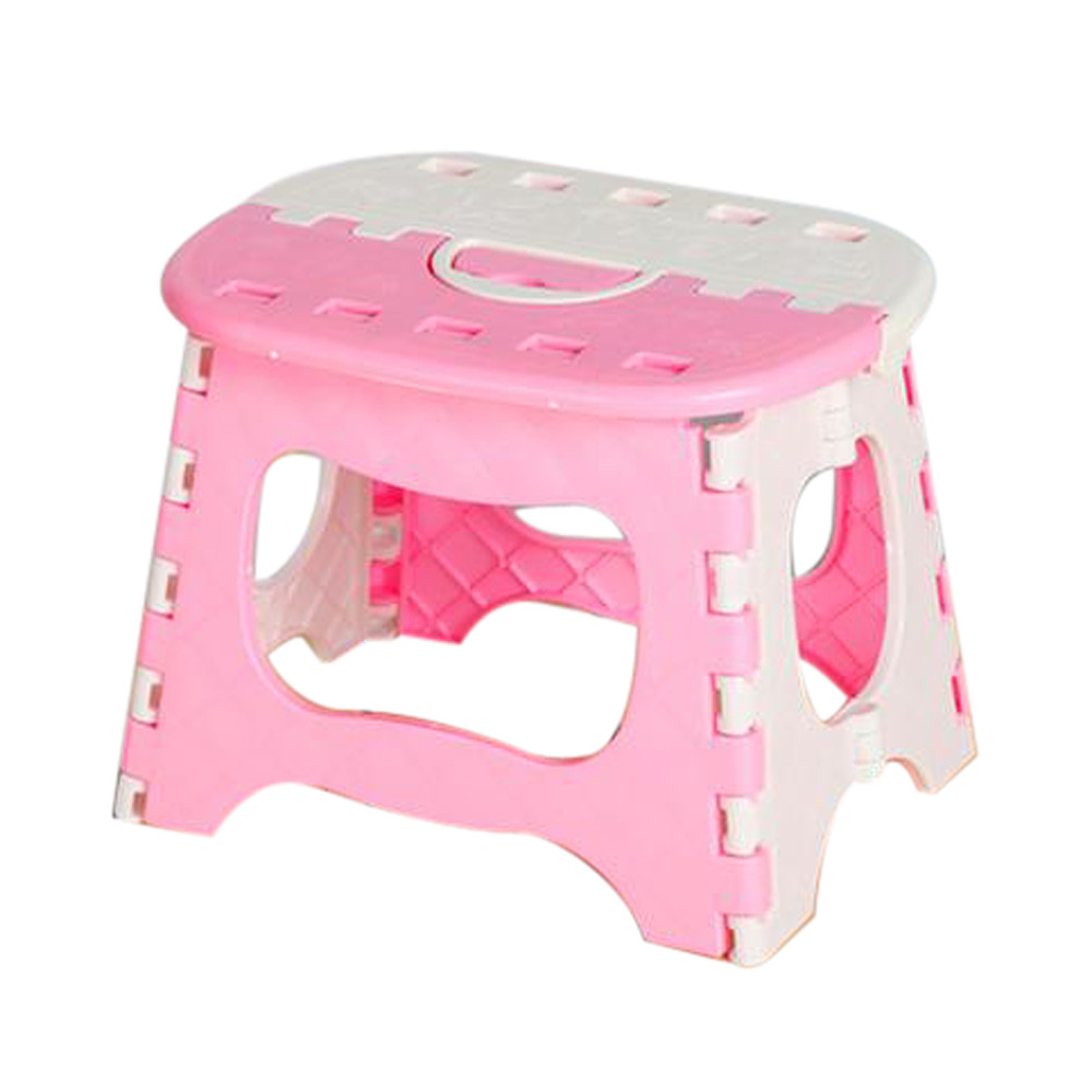 Pink Plastic Folding Stool Thicken Step Ottoman Fold