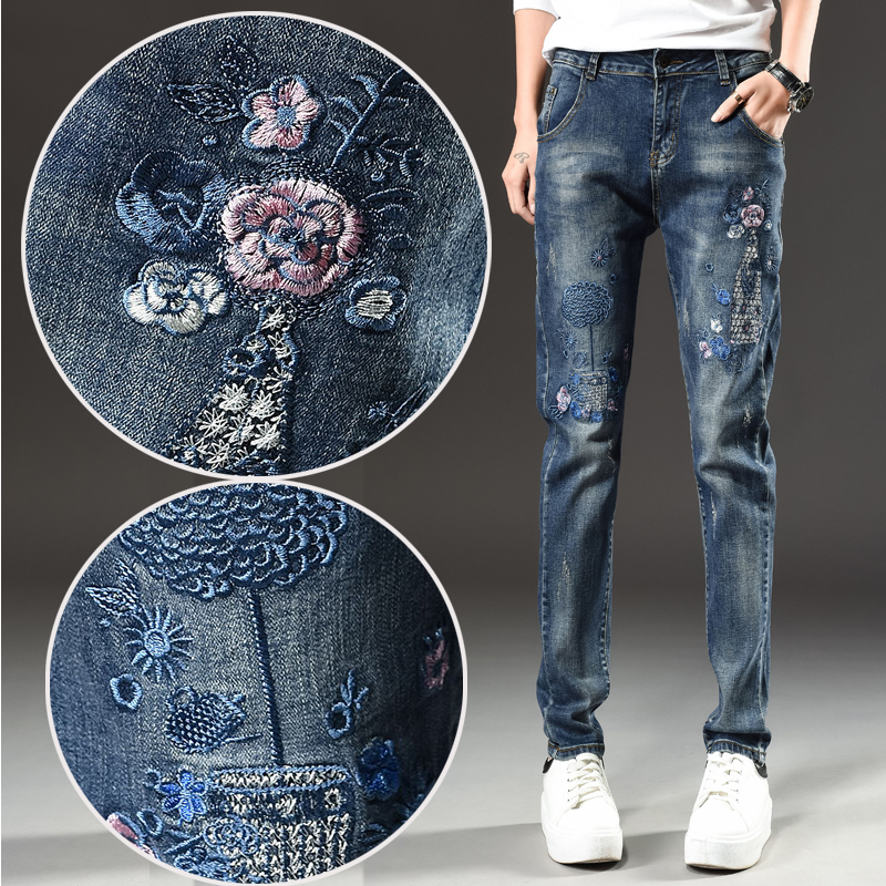 New 2017 Fashion Mid Waist Women Jeans Vintage Embroidery jeans Female High Quality Slim Pencil Denim Pants Z729 2017 new jeans women spring pants high waist thin slim elastic waist pencil pants fashion denim trousers 3 color plus size