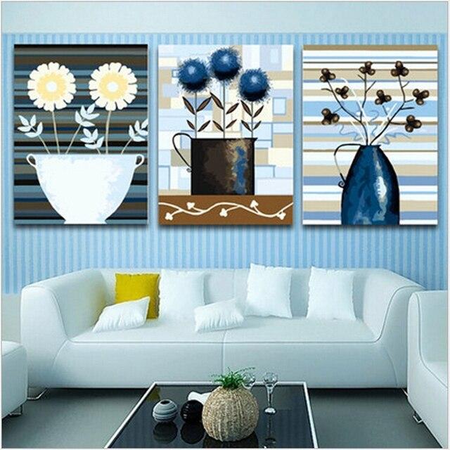 € 21.05 22% de réduction|Bleu fleur vase peinture par numéros mur photos  pour salon vintage home decor wall art triptyque toile peinture à ...