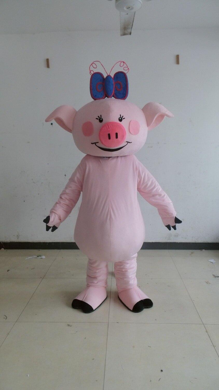 Offre spéciale dessin animé adulte belle petite mascotte de cochon rose costume fantaisie robe costume de fête de noël