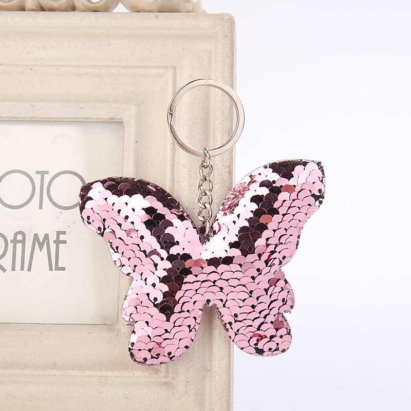 RE lindo llavero de mariposa purpurina pompón lentejuelas llavero regalos para mujeres llaveros encanto bolso de coche colgante joyería J35
