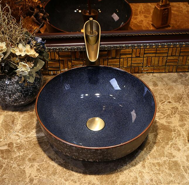 Fashionable sanitary art integrated basin bathroom sinks the stage basin sink basin color glaze in Bathroom Accessories Sets from Home Garden