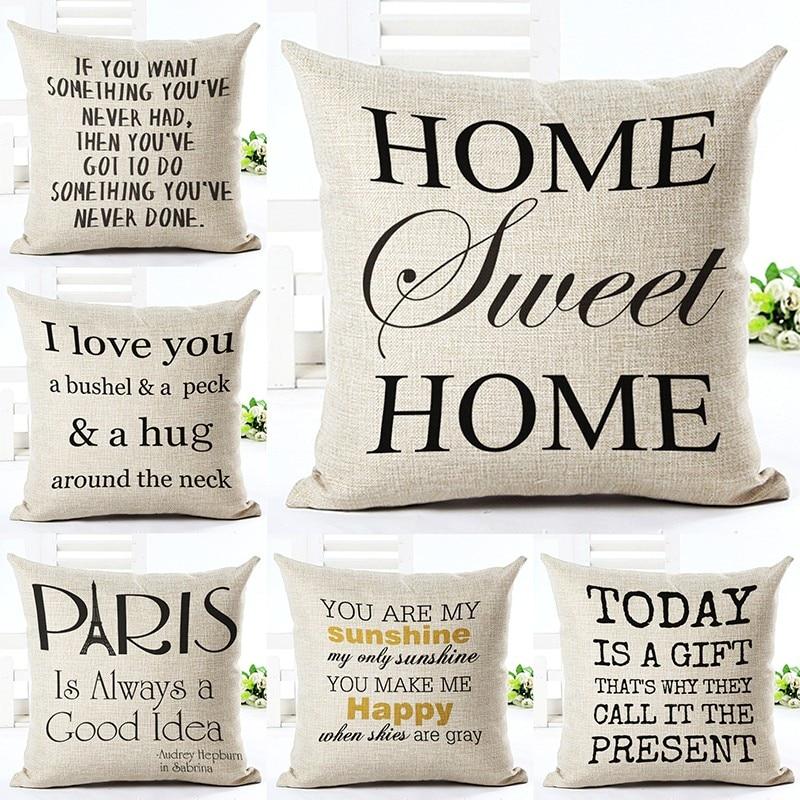 Love Letter Տպագրված սպիտակեղենի բամբակե քառակուսի 45x45 սմ Եվրոպական տան դեկոր Տնային տնտեսություն մահճակալ բարձի նետում բարձի բարձի կոճղակներ ալմոհադներ