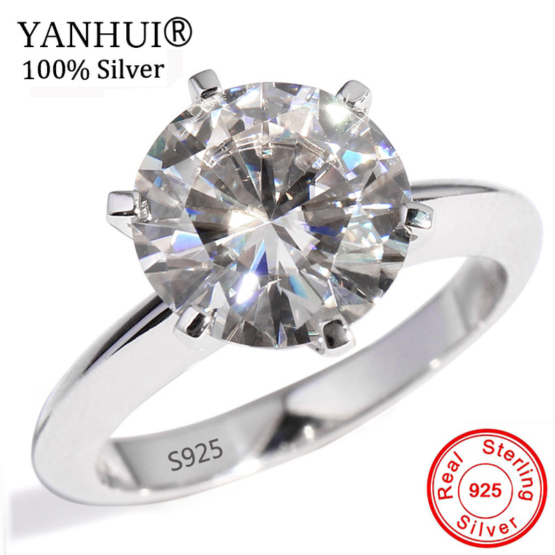 YANHUI D'origine 925 Solide Bague En Argent Pour Les Femmes Solitaire 1.5ct Diamant Bagues de Fiançailles De Mariage Bague Fine Bijoux YNR121