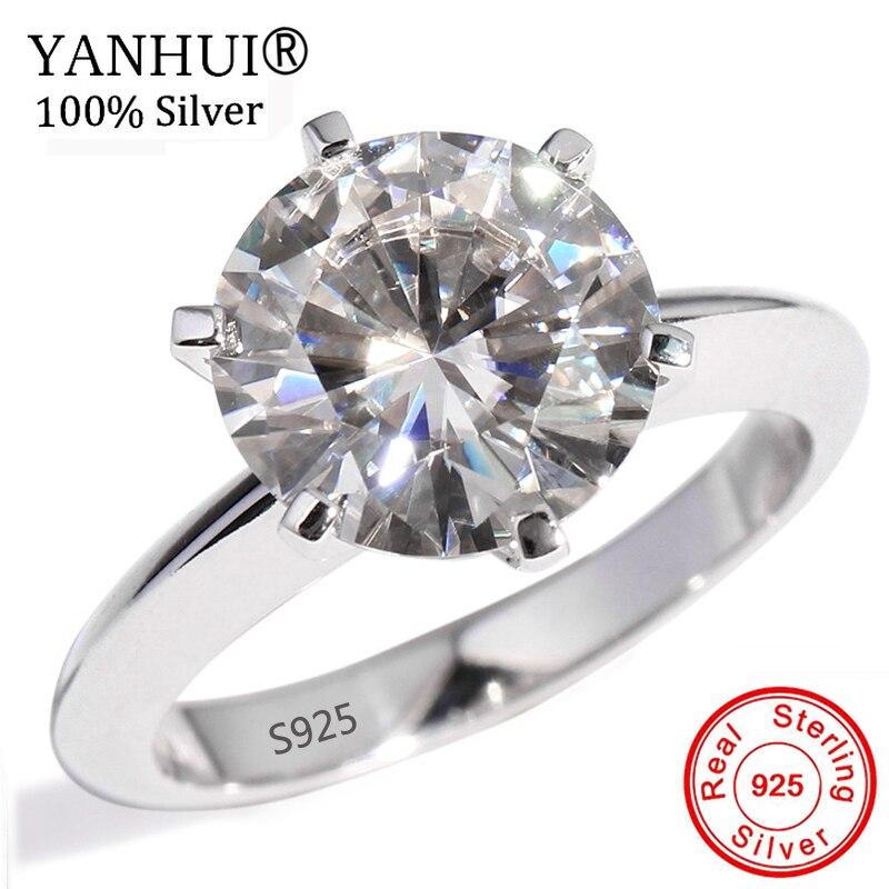 YANHUI Original 925 Anel de Prata Sólida Para Mulheres Diamant 1.5ct Solitaire Anéis de Noivado Anel De Dedo de Casamento Fine Jewelry YNR121
