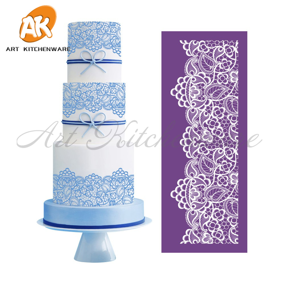 New berry mesh stencil lace cake stencil template lace mat for Lace templates for cakes
