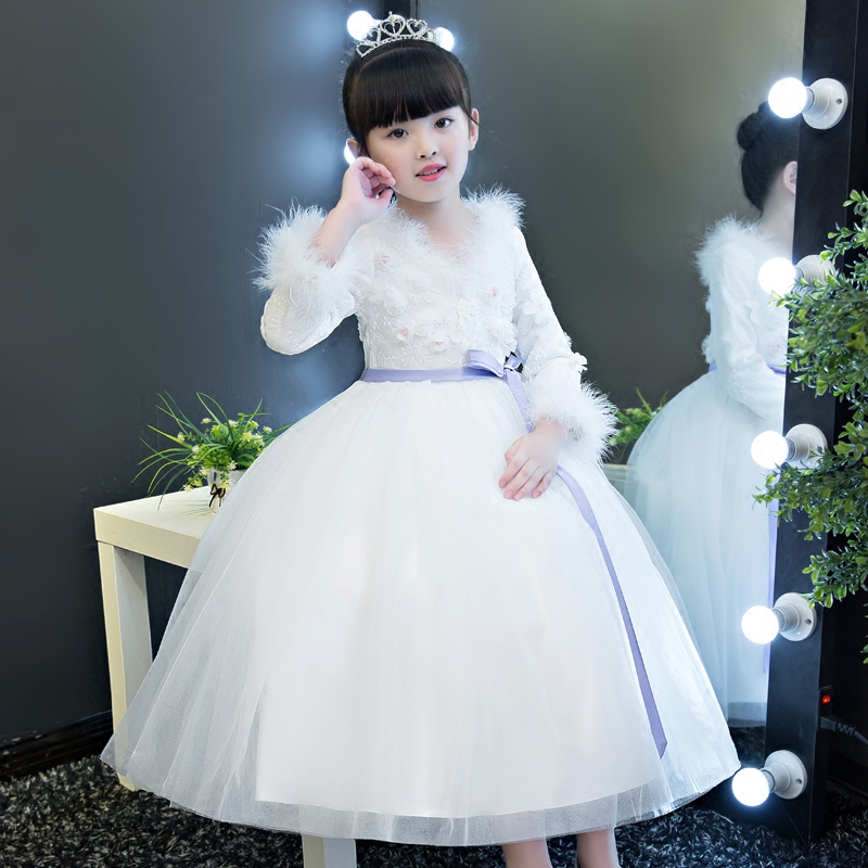2017 New Elegant Girls Children Luxury White Color Wedding Birthday Party Dress Kids Performance Costume Flowers Long Dresses lace butterfly flowers laser cut white bow wedding invitations printing blank elegant invitation card kit casamento convite