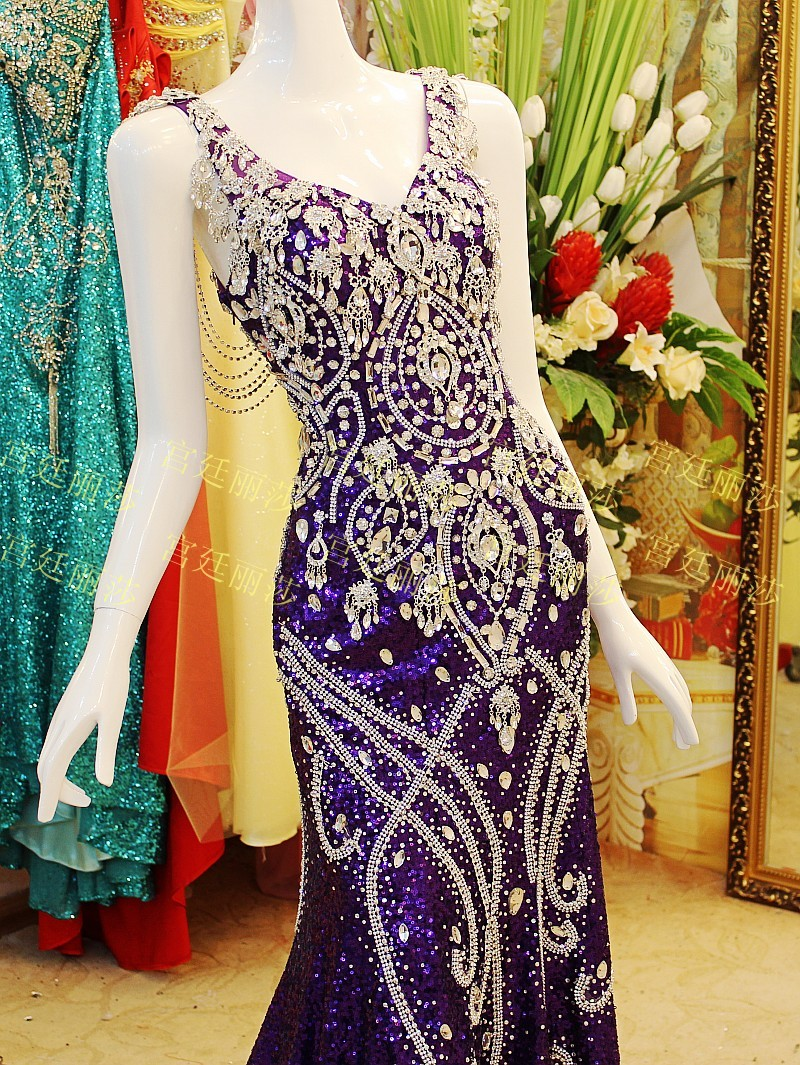 Image 4 - Custom Made Real Photos 2020 Purple Mermaid V neck Sequins Beading Crystal Luxury Sexy Bride Evening Dresses Prom Party Gown JO3bride evening dressesevening dresssequin beads -
