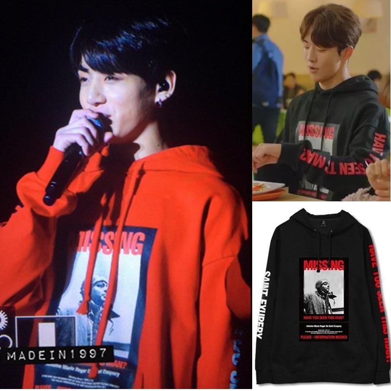 kpop bts Bangtan Boys with hooded sweater Weight Fairy Jinzhu Zhu Nanzhu same autumn and winter Sweatshirts k-pop women men coat