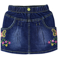 Girls embroidery Letter flowers pattern denim Skirts Kids jeans with pockets button 1-4year-old childrens's summer cute clothes