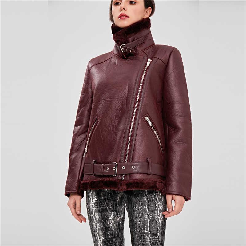 Bella Filosofia 2019 Casaco de Inverno engrossar Acolchoado quente motor de couro PU casaco feminino gola virada para baixo senhoras casaco de shearling