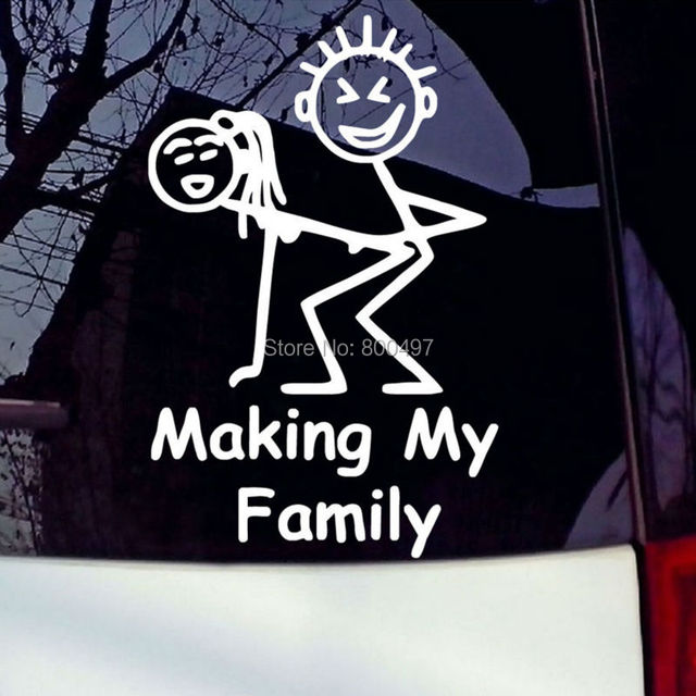 Making my family auto decals cartoon car stickers car bumper sticker body decal creative pattern cartoon