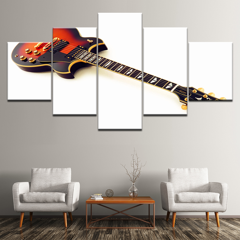 Canvas Painting SG-2000 Electric Guitar Sunburst 5 Pieces Wall Art Painting Modular Wallpapers Poster Print for Home Decor