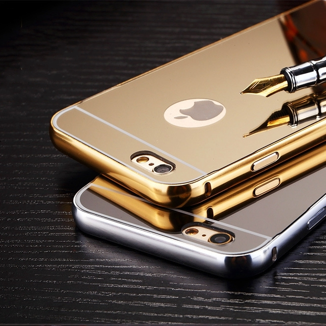 62a6b325bf i6/S 4.7 /Plus 5.5! Mirror Plating Aluminum Metal Frame Case for Apple  iphone 6 6S / Plus Logo Hole Luxury Hard Back Capa Cover