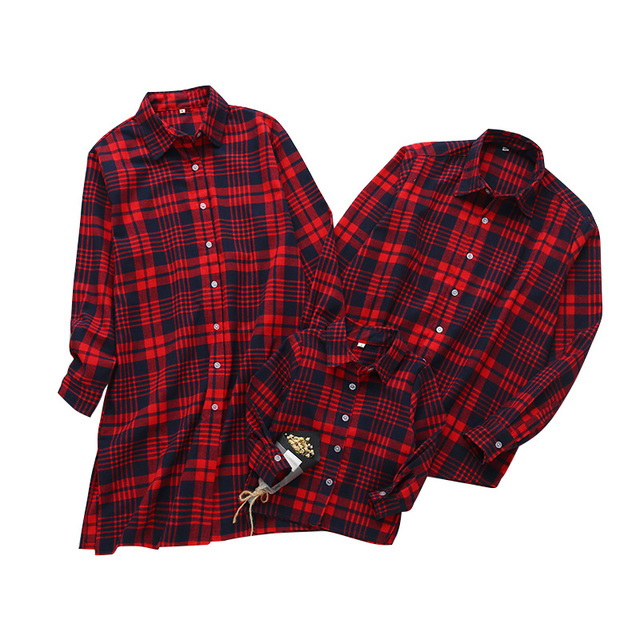 2018 spring family matching outfits plaid shirt for family clothing mom mother daughter son father christmas - Christmas Plaid Shirt