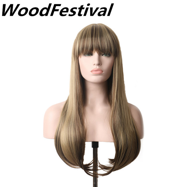 WoodFestival Womens Wigs Blonde Wig Long Wigs With Bangs Synthetic Women  Heat Resistant Mix Color Straight Hair Wig Cosplay 25fcd9af5