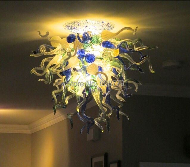 Free Shipping 120v 240v LED Bulbs Unique Parlor Lamp Hand Blown Glass Style Chandelier in Ceiling Lights from Lights Lighting