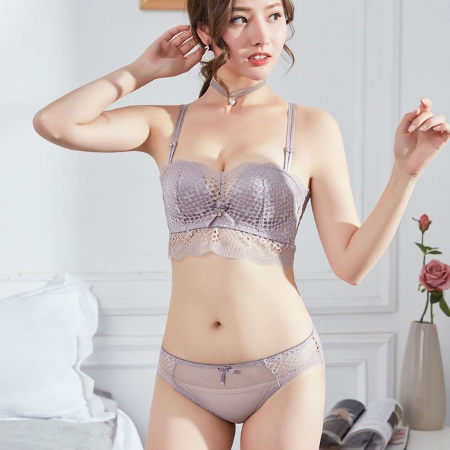 34f6caa25c1 Japanese style small seamless young girls intimates push up 1 2 cup women  sexy hollow out underwear fashion transparent bra sets