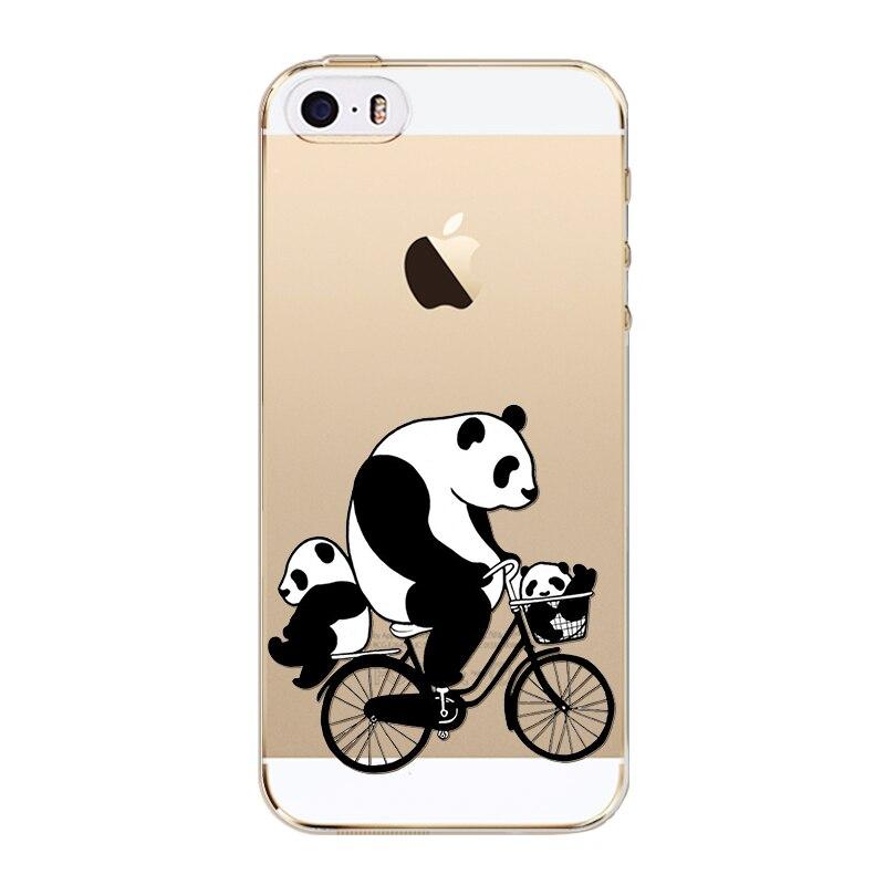 Чехлы для iPhone 5 5S SE с милой пандой анимации Мягкие силиконовые ТПУ ультра тонкий задняя защитить кожу Fundas capinha Coque
