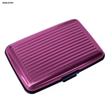 Card Holder 2 Smooth Sides CB Name Card ALUMINIUM RIGID Security Credit Cards Holder Wallet * PURPLE