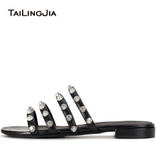 купить Women Black Giant Studded Sandals Studs Slides Red Beach Shoes Strappy Slippers Vacation Flats Mules Large Size Wholesale 2018 по цене 3251.63 рублей