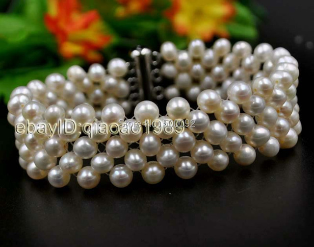 Genuine 5mm Handmade Cultured freshwater pearl bracelet free shipping