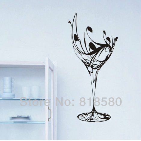 Home Decor Wine Glass Kitchen Vinyl Wall Art Stickers Wall Decals