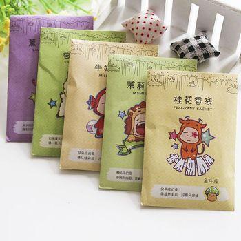 10 bags 6x9cm Fragrance Sachet Bag Natural Grain Scented Wardrobe Deodorant Air Freshener Colorful Printed Package 12 Flavors