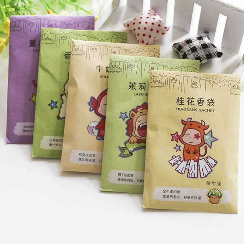10 bags 6x9cm Fragrance Sachet Bag Natural Grain Scented Wardrobe Deodorant Air Freshener Colorful Printed Package 12 Flavors