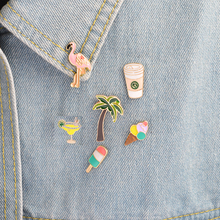 Coco flamingo coffee cup ice cream tea creative brooch denim shirt pin buckle shirt badge gift