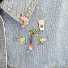 Coco flamingo coffee cup ice cream tea creative brooch denim shirt pin buckle shirt badge gift jewelryflamingo shirt brooch