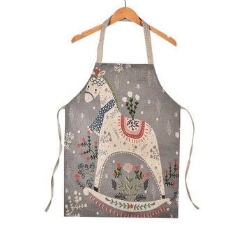 المطبخ المئزر الآباء الاطفال الكتان أكمام المئزر جميل الكرتون الحصان الغزلان أرنب القط المطبوعة مآزر ل أدوات تنظيف الطبخ