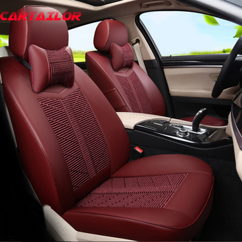 CARTAILOR Cover Seats Fit for Toyota Venza Car Seat Cover Set New Ice Silk & PU Leather Seat Covers Cars Styling Seat Protection