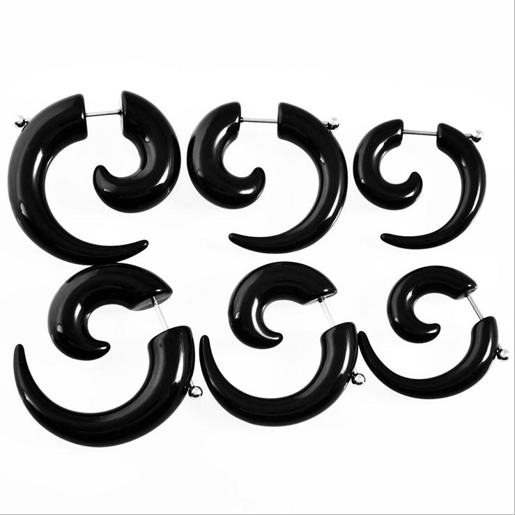 MJARTORIA Novelty Unisex Black Fake Spiral Snail Earrings Gothic Punk Earrings For Men Women Rock Party Jewelry 1 Pair Gifts