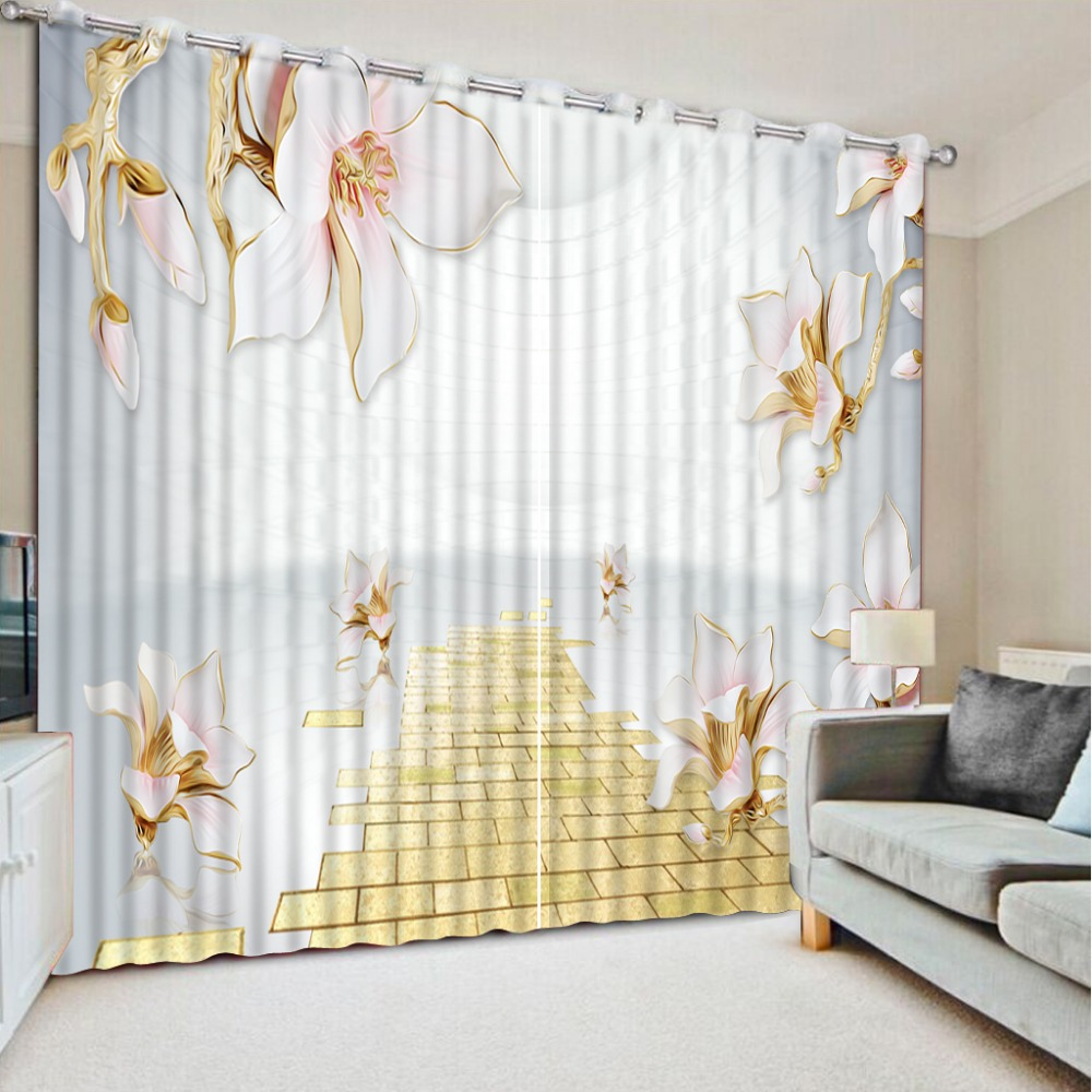 3D Print Flower Space Curtains Modern Curtains For Living Room ...