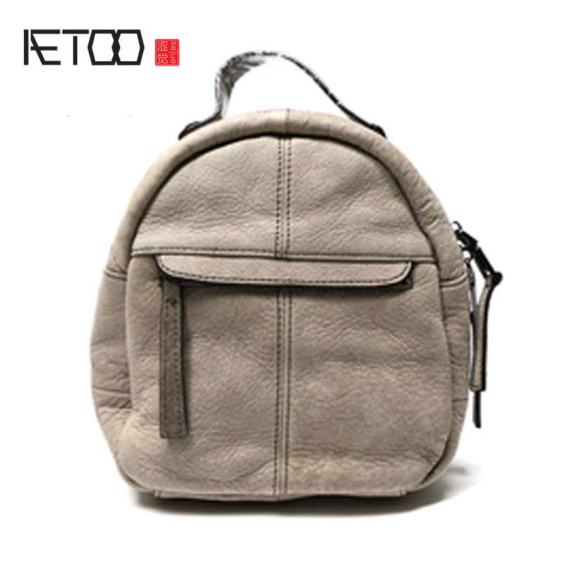 AETOO New fashion leather shoulder bag leather backpack simple mini female bag