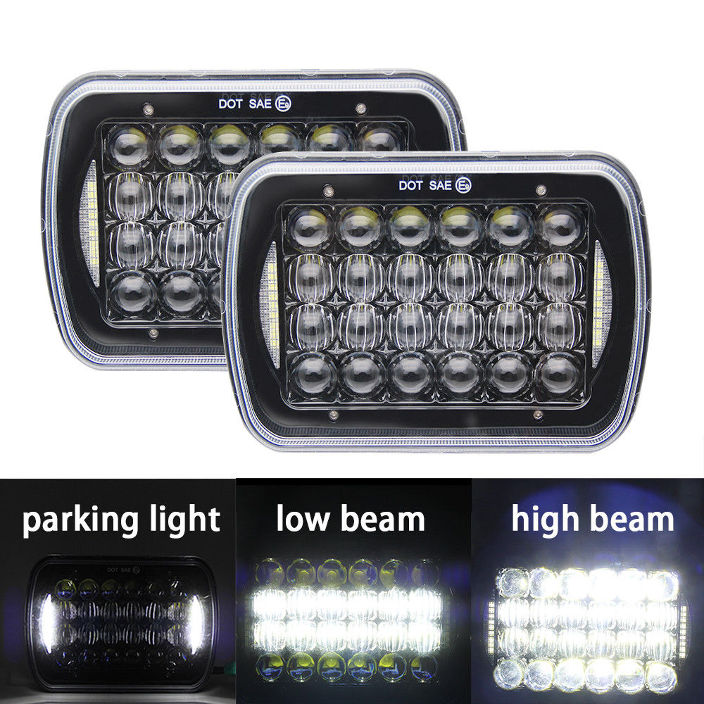 Pair lantsun LED6472 5D 7x6 5X7 72w LED Headlights Hi-Lo Beam Halo DRL for Jeep Cherokee XJ YJ GMC
