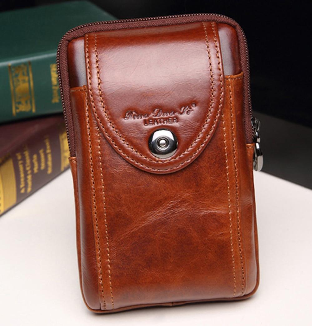 New Men's Original Leather Cowhide Vintage Belt Fodral Purse Fanny - Bälten väskor - Foto 3