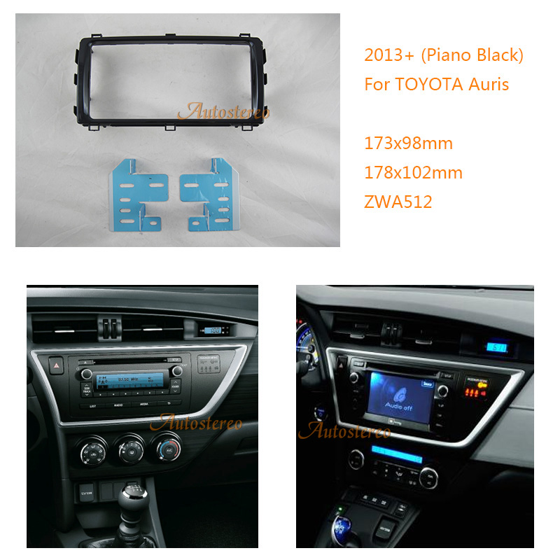 Car Radio fascia for TOYOTA Auris 2013 Piano Black Car DVD CD Radio Stereo Facia Panel