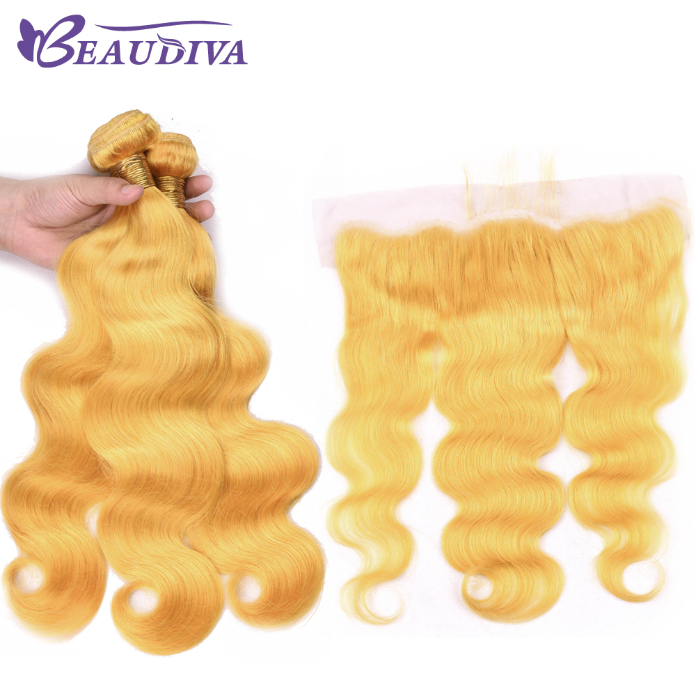 BEAUDIVA Yellow Body Wave Bundles With Frontal Brazilian Hair Weave Bundles With Frontal Remy Human Hair Bundles With Closure