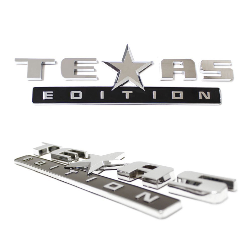 Chromed TEXAS EDITION Chromed Emblem Badge Decal Sticker Back for Chevy Silverado and GMC Sierra Car Styles Accessories