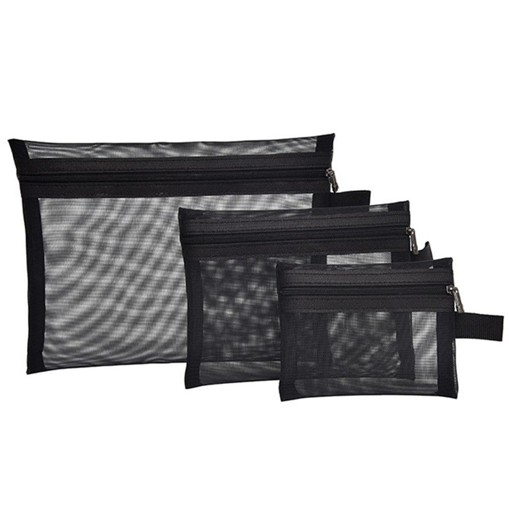 Black Travel Organizer Wash Toiletry Multifunction Zipper Makeup Portable Cosmetic Bag Fashion Transparent Mesh Storage Women