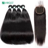 Volys Virgo Peruvian Straight Hair Bundles With Closure 3 Bundle Remy Weave Human Hair Bundles With Closure 4 pcs/lot