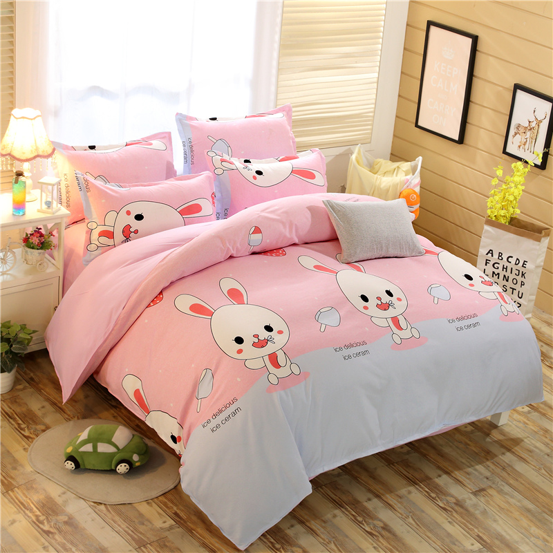 Home Textile 3/4pcs Pink Bunny Bedding Sets Rabbit Sheet