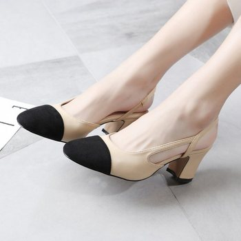 Chanel inspired open toe shoes