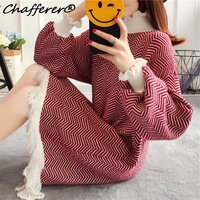 Chafferer Petal Ruffle Long Sweater Dress Women Autumn Winter Fashion Straight 2017 Loose Korean Tassle Stripe