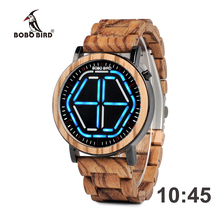Wholesale BOBO BIRD Bamboo Wood V-P13 Watches Men LED Display Night Vision Digital Male Wristwatches With LED Function