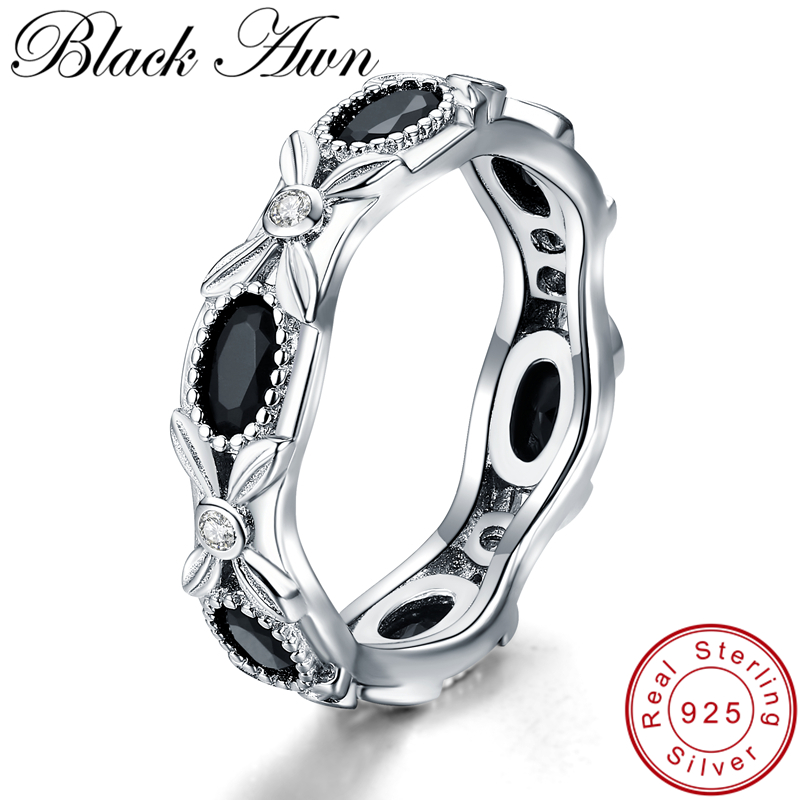 [BLACK AWN] 925 Sterling Silver Jewelry Wedding Rings For Women Female Horse Eye Stone Bijoux Round Silver 925 Jewelry G085