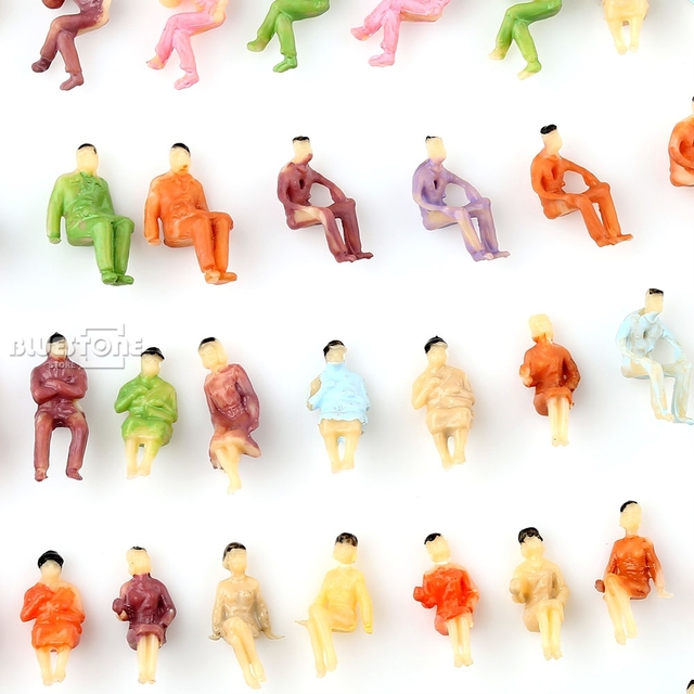 100 pcs Painted Z scale ALL Seated People Sitting Figures 1:200 4