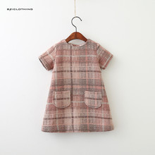 Korea Style Girls Dress 2017 Brand Autumn Princess Dresses Girls Clothes O-neck Plaid Pocket Design for Children Clothing 3-7Y
